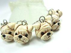 """Marcadores de la puntada de Bulldog-conjunto de perro arcilla polimérica 5 punto para hacer punto encantos miniatura de arcilla de la polímero """"regalo amigo bulldog regalos colgante knitter"""""""