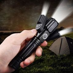 Waterproof USB Rechargeable LED Flashlight Torch 3 led 18650 Battery Hunting Light For Fishing Camping Hiking. Bright Led Flashlight, Head Flashlight, Long Shot, 18650 Battery, Fish Camp, Wide Angle, Multifunctional, Aluminium Alloy, Angles