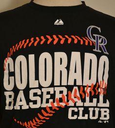 f12f997a Majestic Colorado Rockies MLB Baseball Club Short Sleeve T Shirt Black  Adult XL