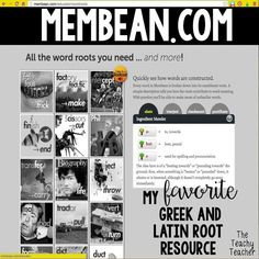 Resources for teaching Greek and Latin Roots to grades 4, 5, 6. Website that is perfect for a web quest, game, and posters and examples of roots used in words. Great for centers and vocabulary activities! theteachyteacher.com Reading Skills, Teaching Reading, Guided Reading, Word Study, Word Work, 4th Grade Classroom, Classroom Ideas, Latin Root Words, Middle School Ela
