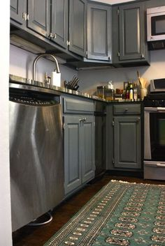 Painted Kitchen Cabinets Love The Teal In Rug With Grey