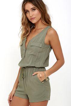 b511a9c7e5 Set Free Olive Green Romper. Lulus. Sexy Sleeveless ...