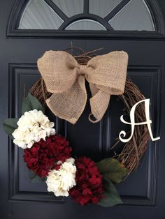 Handmade, personalized initial grapevine wreath with burlap bow and hydrangea…