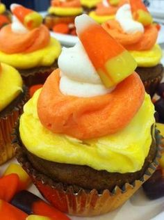 Pumpkin Cupcakes With Candy Corn Frosting Recipe   The Stir
