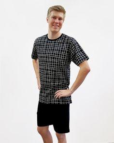 Miesten shortsipyjama, musta/ valkoinen - Ratiashop Button Down Shirt, Men Casual, Mens Tops, Shirts, Fashion, Pajamas, Moda, Dress Shirt, Fashion Styles