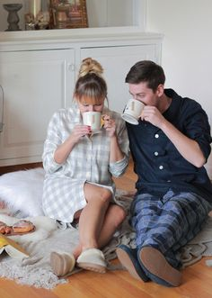 @TheSteeleMaiden - Couples Christmas morning pajamas, slippers and @Anthropologie monogram mugs