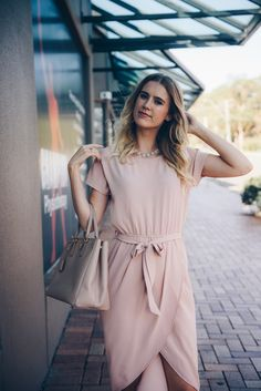 The perfect blush shirt dress- head to toe blush St Frock dress ladylike style Prada bag Natural curls