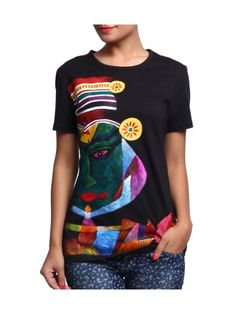Rangrage Kathakali Hand Painted Women T-Shirt | Buy Black Short Sleeve | Shop Online India