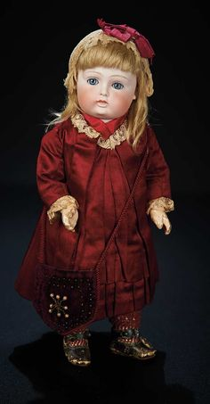 Let the Music Begin!: 155 Early German Bisque Closed Mouth Doll by Kestner with Rare Painted Teeth