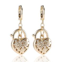 GULICX Gold Tone ovely shape Wonderful Intriguing Girl Women Dangle Earring *** You can find out more details at the link of the image.