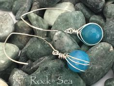 Rock Candy Earrings, Blue Agate Earrings, Sterling Silver Earrings, Minimalist Earrings, Fire Agate Earrings, Blue Earrings by RockAndSeaDesigns on Etsy https://www.etsy.com/listing/549315999/rock-candy-earrings-blue-agate-earrings