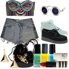 Hello 21st century club kid - tribal crop top bra, studded high waisted short, platform creepers and geometric jewelry = look out spring/summer 2013
