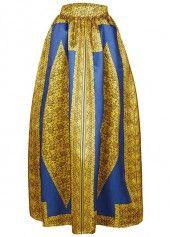 Printed Navy Blue High Waist Maxi Skirt  on sale only US$33.92 now, buy cheap Printed Navy Blue High Waist Maxi Skirt  at liligal.com