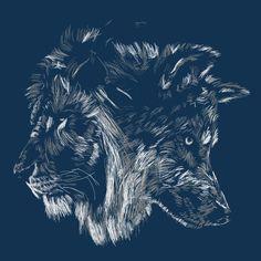 Lion and wolf Wolf Tattoos, Animal Tattoos, Tatoos, Mononoke, Lion Wallpaper, Wolf Spirit, Tattoo Project, Scratchboard, Badass Tattoos