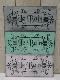 SHABBY French COTTAGE CHIC Le Bain sign / French bathroom sign / Paris Apartment Chic Decor / French country. $14.95, via Etsy.