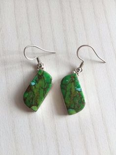 Colorz Of Earth: Matrix Turquoise Gemstone Earrings in 925 Sterling Silver #ColorzOfEarth #DropDangle