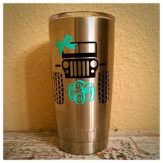 Jeep and Monogram Decal for Yeti Rambler by MotherMeI on Etsy Jeep Decals, Vinyl Decals, Car Decal, Vinyl Crafts, Vinyl Projects, Decals For Yeti Cups, Monogram Decal, Monogram Gifts, Cup Design