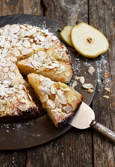 Italian Pear Almond Cake - more pears than cake and lightly sweetened, so it's perfect any time of day.