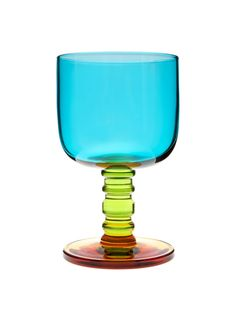 The Sukat Makkaralla stemware by Marimekko is made of mouth blown glass in turquoise, green and yellow. The Sukat Makkaralla (Socks Rolled Down) Marimekko, Kitchenware, Tableware, Kartell, Drinking Glass, Turquoise, Hurricane Glass, Crate And Barrel, Crates