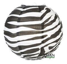 "14"" Zebra Print Paper Lantern - (6 Pack) by Asian Import Store, Inc.. $16.95. Round paper lantern with a Zebra animal print. Paper lantern is held open with a wire expander.   Dimensions: 14"" dia Quantity: 6 Pack"