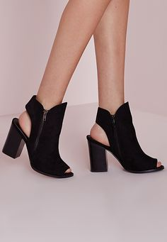 Missguided - Peep Toe Cut Out Ankle Boots Black