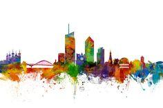 Lyon Skyline Cityscape France by Michael Tompsett Lyon City, Skyline Tattoo, City Tattoo, Lyon France, Framed Prints, Art Prints, Photo Wallpaper, Oeuvre D'art, Street Art