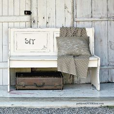 White Farmhouse Style Bench Petticoat Junktion diy home decor project