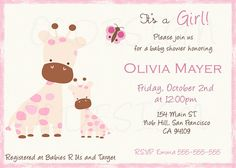 Jiraffe baby shower invitation. also great for Birthdays. Digital File