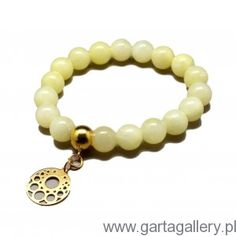 CANDY - Bransoletka z Żółtych Jadeitów z Rozetką Swarovski, Beaded Bracelets, Candy, Jewelry, Sweet, Toffee, Jewlery, Jewels, Candy Notes