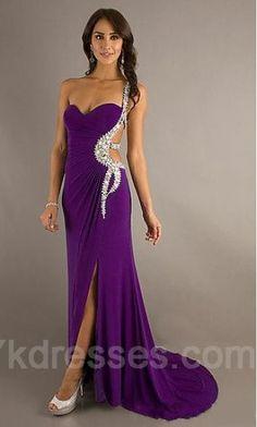 Chiffon Purple A-Line Sleeveless Long Prom Dresses ykdress5062