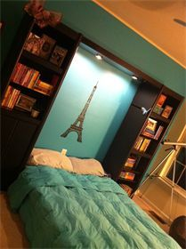 Teen girl's room, library, Paris