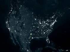 An image of the U.S. from space highlighting the staggering light pollution, especially on the east coast, in Houston, Texas, and San Francisco and Los Angeles on the west coast