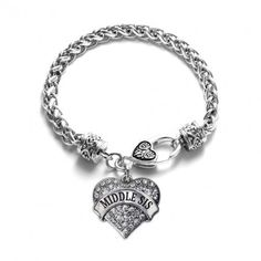 Middle Sis Pave Heart Bracelet - Select Your Stone Color!