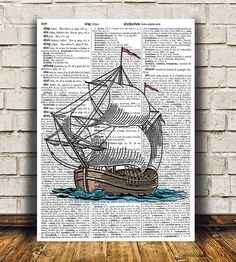 Amazing Nautical poster. Gorgeous Ship print for your home and office. Adorable Victorian decor. Pretty contemporary Dictionary print.    SIZES: A4