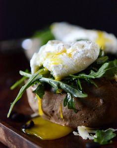 Cheesy Black Bean Stuffed Sweet Potatoes with Arugula + Poached Eggs I howsweeteats.com