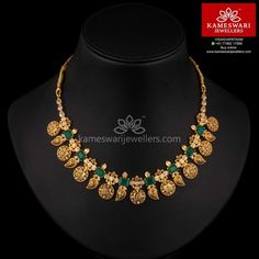 Jewelry Set Mix of Mangoes and Lakshmi With Emeralds - Necklace L : inches; W : 1 inch India Jewelry, Jewelry Sets, Jewelry Holder, Jewelry Accessories, Jewelry Making, Long Pearl Necklaces, Choker Necklaces, Diamond Necklaces, Bracelets