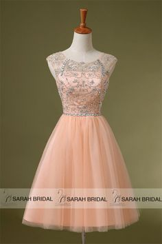 2015 Blush Formal Short Homecoming Dresses Beading Prom Party Gowns Size 2/4/6/8