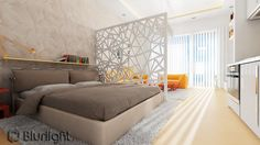 Spectacular Bedroom Wall Decals - Image 04 : Open Plan Apartment Neutral Masterful Apartment