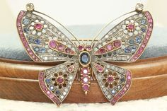 Russian Empire Ruby Diamond and Sapphire Butterfly from emilysattictreasures on Ruby Lane