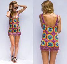 Crochetcetera e tal: Mais umas belezuras... Hippie Dresses, Hippie Outfits, Hippie Clothing, Crochet Granny, Knit Crochet, Crochet Designs, Crochet Patterns, Hippie Style, My Style