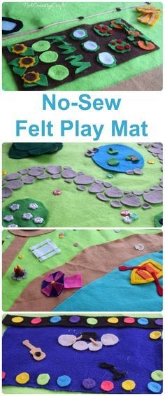 Make a no-sew play mat with glue and felt- great kids craft! This one has a beach, park, farm, and concert stage for Littlest Pet Shop animals.