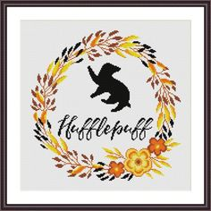 Hufflepuff Floral Harry Potter Cross stitch patter | Craftsy