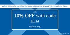 Shopping at Debenhams? Only today, get 10% OFF with code ML44. http://www.codesium.com/debenhams-discount-code/