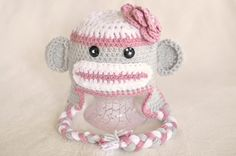Sock+Monkey+Hat++Girl+Baby+Toddler+with+by+treslittlekings+on+Etsy,+$25.00