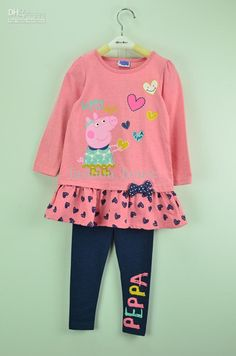 peppa pig clothing pics | Baby Children Clothing Peppa Pig Happy Day 2Piece Set Cartoon Long ...