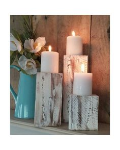 Sawmill Creations | Set Of 3 Rustic Primitive Shabby Candle Holders Made From Reclaimed Pallet Wood - Candles Included | Country Outfitter