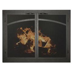 "Ironhaus Elegant Series Fireplace Glass Door Finish: Brushed Gray, Size: 34"" H x 35"" W x 3"" D"