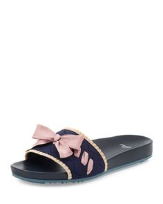 2daca32e5c42bb Bow+Knit+Slide+Sandal+by+Fendi+at+Neiman+