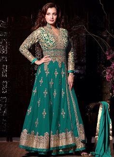 Diya Mirza Lace Work Net Anarkali Suit | Item Code: 5406
