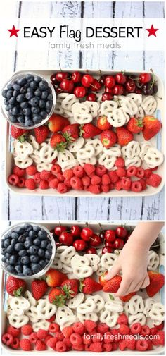 Easy Flag Fruit Dessert. Perfect patriotic dish for Memorial Day or Fourth of July!
